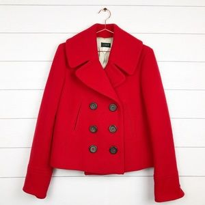 J. Crew Red Wool Double Breasted Peacoat